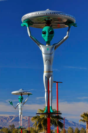 extra terrestrial: ET with flying saucer on his head of Interstate 15, Baker, CA. Extra Terrestrial highway, California