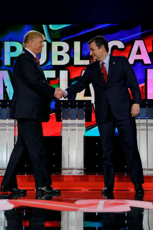 ted: LAS VEGAS, NV - DECEMBER 15: Republican presidential candidates US Senator Ted Cruz and Donald J. Trump shake hands at CNN republican presidential debate at The Venetian, December 15, 2015, Las Vegas, Nevada Editorial