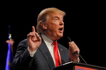 LAS VEGAS NEVADA, DECEMBER 14, 2015: Republican presidential candidate Donald Trump speaks at campaign event at Westgate Las Vegas Resort & Casino the day before the CNN Republican Presidential Debate Editorial