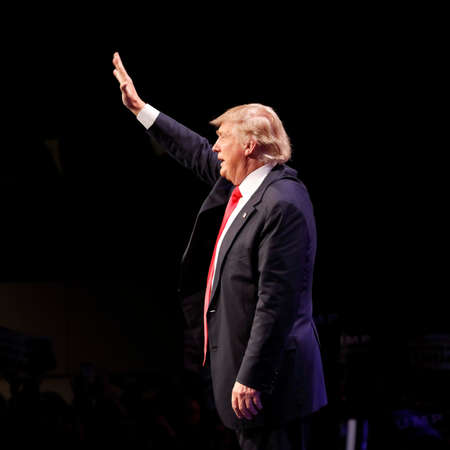 LAS VEGAS NEVADA, DECEMBER 14, 2015: Republican presidential candidate Donald Trump waves at campaign event at Westgate Las Vegas Resort & Casino the day before the CNN Republican Presidential Debate