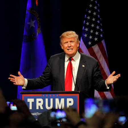 LAS VEGAS NEVADA, DECEMBER 14, 2015: Republican presidential candidate Donald Trump speaks at campaign event at Westgate Las Vegas Resort & Casino the day before the CNN Republican Presidential Debate Editorial