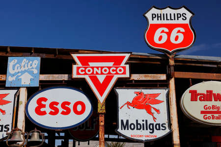 barstow: Vintage collection of Americana gas station road signs outside Barstow on historic Route 58, CA Editorial