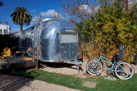 airstream: Classic Airstream trailer is seen in Santa Barbara, CA as a overnight rental
