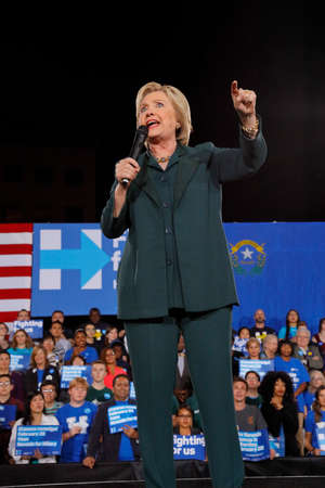 speaks: LAS VEGAS, NV - FEBRUARY 19 :Former Secretary of State Hillary Clinton speaks during a Get Out The Caucus event at the Clark County Government Center on February 19, 2016 in Las Vegas, Nevada.