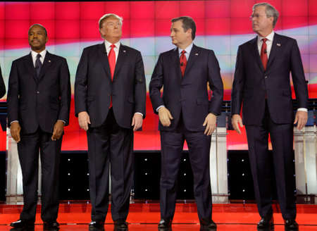 ted: LAS VEGAS, NV - DECEMBER 15: Republican presidential candidates (L-R) hands all hang down as we see Ben Carson, Donald Trump, Sen. Ted Cruz, Jeb Bush