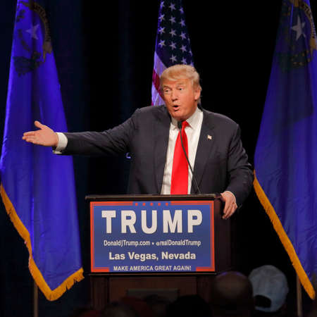 LAS VEGAS NEVADA, DECEMBER 14, 2015: Republican presidential candidate Donald Trump points at campaign event at Westgate Las Vegas Resort & Casino the day before the CNN Republican Presidential Debate