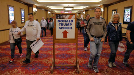 donald: Supporters of Republican presidential candidate Donald Trump where he speaks at the South Point Arena & Casino in Las Vegas, Nevada on February 22, 2016, a day before Nevadas First in the West presidential caucus Editorial