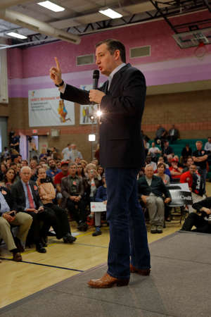 senator: LAS VEGAS, NV - FEBRUARY 22: Republican presidential candidate Texas Senator Ted Cruz  speaks at a rally at the Durango Hills Community Center on February 22, 2016 in Las Vegas, Nevada in anticipation of the Nevada Caucus Editorial