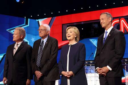 webb: cLAS VEGAS, NV - OCTOBER 13 2015: (L-R) Democratic presidential debate features candidates Jim Webb, Sen. Bernie Sanders, Hillary Clinton and Martin OMalley at Wynn Las Vegas.