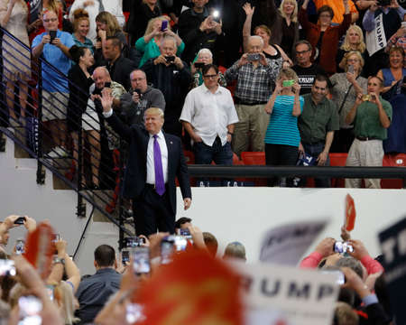political rally: LAS VEGAS, NV - FEBRUARY 22: Republican presidential candidate Donald Trump makes heroic entry at the South Point Arena & Casino in Las Vegas, Nevada on February 22, 2016, a day before Nevadas First in the West presidential caucus.