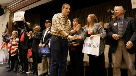 LAS VEGAS, NEVADA, DECEMBER 17, 2015: Republican Presidential candidate Sen. Ted Cruz, R-Texas, shakes hands with audience after his Presidential Nevada rally at Siena Community Ballroom, Las Vegas, NV Editorial