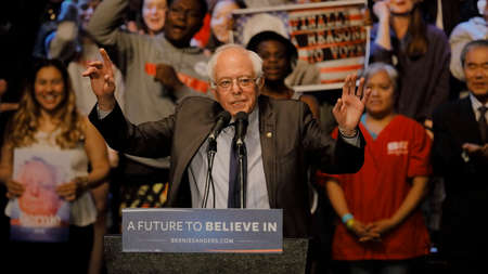 senator: LOS ANGELES, CA - MARCH 23, 2016: Vermont U.S. Senator Bernie Sanders and 2016 Democratic presidential candidate, speaks during a campaign rally at the Wiltern Theater