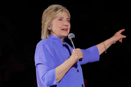 speaks: LAS VEGAS, NV - OCTOBER 14, 2015: Hillary Clinton, former U.S. secretary of state and 2016 Democratic presidential candidate, speaks at Hillary for America Nevada Rally, Springs Preserve Amphitheater Editorial