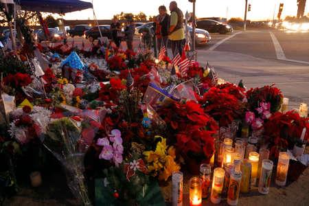 SAN BERNARDINO, CA. DECEMBER 17, 2015, A makeshift memorial at the Inland Regional Center (IRC) in San Bernardino, CA. San Bernardino shooting aftermath in San Bernardino, CA.