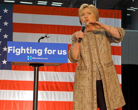 political rally: LOS ANGELES, CA - APRIL 16, 2016: US Democratic Presidential candidate Hillary Clinton campaigns at Southwest College, Los Angeles, CA Editorial
