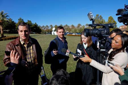 interviewed: LAS VEGAS, NEVADA, DECEMBER 17, 2015: Republican Presidential candidate Sen. Ted Cruz, R-Texas, interviewed at Presidential rally at Siena Community Ballroom, Las Vegas, NV