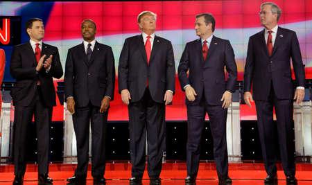 donald: LAS VEGAS, NV - DECEMBER 15: Republican presidential candidates (L-R) Marco Rubio, Ben Carson, Donald Trump, Sen. Ted Cruz, Jeb Bush
