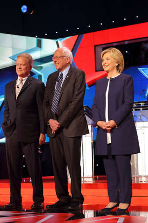 webb: LAS VEGAS, NV - OCTOBER 13 2015: (L-R) Democratic presidential debate features candidates Jim Webb, Sen. Bernie Sanders, Hillary Clinton at Wynn Las Vegas. Editorial