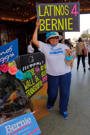 senator: LOS ANGELES, CA - MARCH 23, 2016: Latino-Hispanic Supporter of U.S. Senator Bernie Sanders and 2016 Democratic presidential candidate, speaks during a campaign rally at the Wiltern Theater