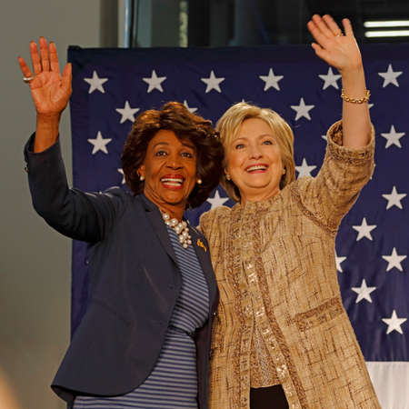 political rally: LOS ANGELES, CA - APRIL 16, 2016: US Democratic Presidential candidate Hillary Clinton campaigns with Maxine Waters at Southwest College, Los Angeles, CA Editorial
