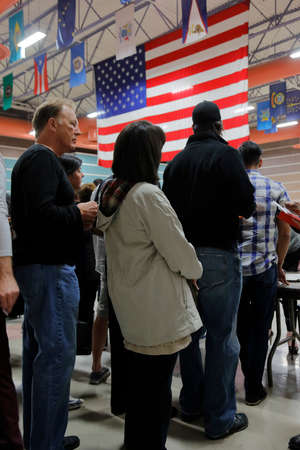 primaries: LAS VEGAS, FEB 23: Caucus goers and voters participate in election caucus at Palos Verde High School, NV