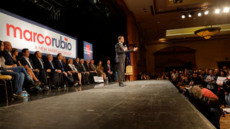 incidental people: NORTH LAS VEGAS, NV - FEBRUARY 21: Republican presidential candidate Sen. Marco Rubio (R-FL) speaks at a rally at the Texas Station Gambling Hall & Hotel on February 21, 2016 in North Las Vegas, Nevada.