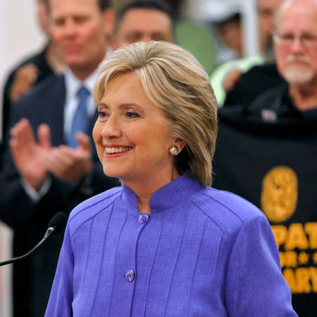 allied: HENDERSON, NV - OCTOBER 14, 2015: Democratic U.S. presidential candidate & former Secretary of State Hillary Clinton smiles at International Union of Painters and Allied Trades (IUPAT) training center