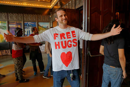senator: LOS ANGELES, CA - MARCH 23, 2016: Free Hugs Supporter of Vermont U.S. Senator Bernie Sanders and 2016 Democratic presidential candidate, speaks during a campaign rally at the Wiltern Theater Editorial