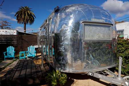 santa barbara: Classic Airstream trailer is seen in Santa Barbara, CA as a overnight rental