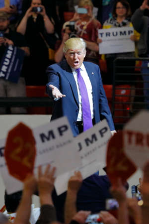 LAS VEGAS, NV - FEBRUARY 22: Republican presidential candidate Donald Trump makes heroic entry at the South Point Arena & Casino in Las Vegas, Nevada on February 22, 2016, a day before Nevadas First in the West presidential caucus.