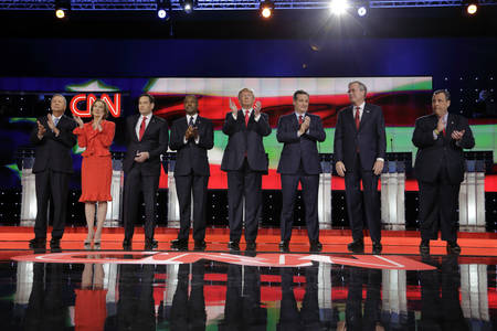 ted: LAS VEGAS, NV - DECEMBER 15: Republican presidential candidates (L-R) John Kasich, Carly Fiorina, Sen. Marco Rubio, Ben Carson, Donald Trump, Sen. Ted Cruz, Jeb Bush, Chris Christie all applaud after national anthem