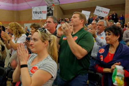 ted: LAS VEGAS, NV - FEBRUARY 22: crowd applauds for Republican presidential candidate Sen. Ted Cruz at a rally at the Durango Hills Community Center on February 22, 2016 in Las Vegas, Nevada in anticipation of the Nevada Caucus Editorial