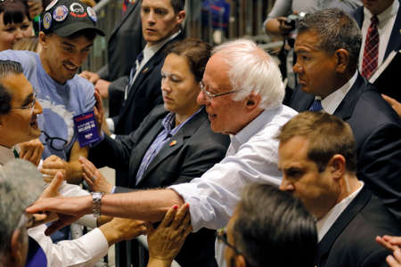 thursday: MODESTO, CA- JUNE 02, 2016: Presidential candidate, Bernie Sanders greets people after speaking at a rally at Modesto Centre Plaza on Thursday June 02, 2016 in Modesto, CA.