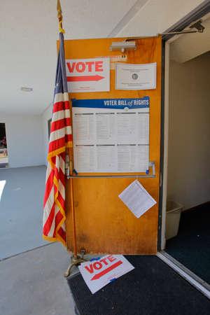 voting booth: VENTURA COUNTY, CA - JUNE 7, 2016 -- Santa Paula Polling Station for California primary Ventura County, California.