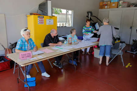 polling booth: VENTURA COUNTY, CA - JUNE 7, 2016 -- Upper Ojai Polling Station California primary voting taking place on June 07, 2016 in Ventura County, California.