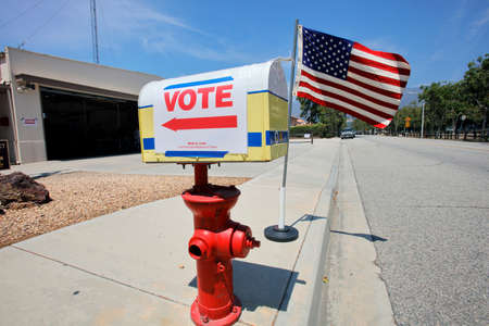 polling booth: VENTURA COUNTY, CA - JUNE 7, 2016 -- Santa Paula Polling Fire Station California primary voting on June 07, 2016 in Ventura County Editorial