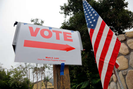 voting booth: VENTURA COUNTY, CA - JUNE 7, 2016 -- Oak View Polling Station for California primary voting taking place on June 07, 2016 in Ventura County, California. Editorial