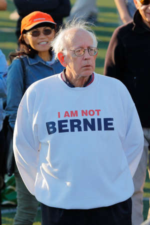 high school football: SANTA MONICA, CA - MAY 23, 2016: I Am Not Bernie supporter of US Democratic presidential candidate Bernie Sanders (D - VT) at a Presidential rally at Santa Monica High School Football Field in Santa Monica, California.