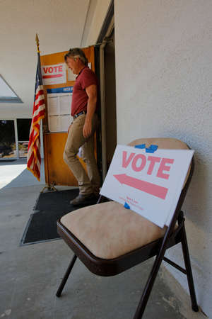 voting booth: VENTURA COUNTY, CA - JUNE 7, 2016 -- Upper Ojai Polling Station California primary voting taking place on June 07, 2016 in Ventura County, California.
