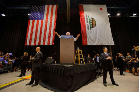 political rally: MODESTO, CA- JUNE 02, 2016: Democratic Presidential Candidate Bernie Sanders speaks at a Presidential campaign rally at Modesto Centre Plaza, Modesto, CA.