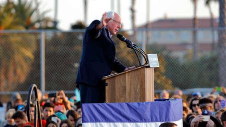 high school football: SANTA MONICA, CA - MAY 23, 2016: US Democratic presidential candidate Bernie Sanders (D - VT) speaks a Presidential rally at Santa Monica High School Football Field in Santa Monica, California.