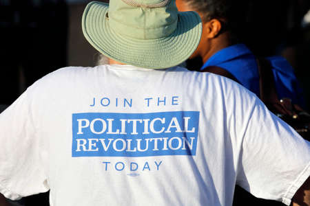 political rally: SANTA MONICA, CA - MAY 23, 2016: Join the Political Revolution T-Shirt for Democratic presidential candidate Bernie Sanders (D - VT) at Presidential rally at Santa Monica High School Football Field in Santa Monica, California. Editorial