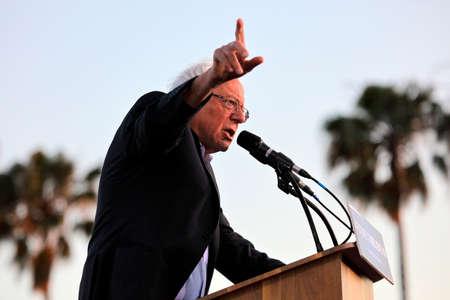 monica: SANTA MONICA, CA - MAY 23: US Democratic presidential candidate Bernie Sanders (D - VT) speaks a Presidential rally at Santa Monica High School Football Field in Santa Monica, California.