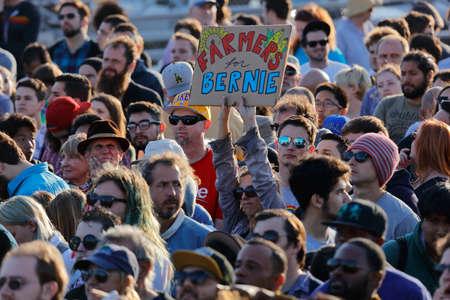 high school football: SANTA MONICA, CA - MAY 23, 2016: Farming supporters of US Democratic presidential candidate Bernie Sanders (D - VT) at a Presidential rally at Santa Monica High School Football Field in Santa Monica, California.