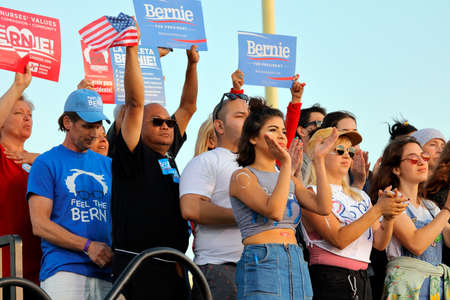 high school football: SANTA MONICA, CA - MAY 23, 2016: Supporters of US Democratic presidential candidate Bernie Sanders (D - VT) at a Presidential rally at Santa Monica High School Football Field in Santa Monica, California.
