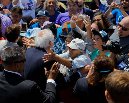 political rally: VENTURA, CA - MAY 26, 2016: Supporters meet Senator Bernie Sanders on rope line at Presidential campaign rally at Ventura College, in preparation for June 7 California Primary Election.