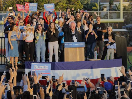 monica: SANTA MONICA, CA - MAY 23, 2016: US Democratic presidential candidate Bernie Sanders (D - VT) speaks a Presidential rally at Santa Monica High School Football Field in Santa Monica, California.