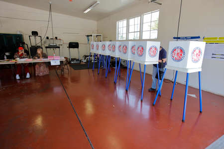 voters: VENTURA COUNTY, CA - JUNE 7, 2016 -- Santa Paula Polling Fire Station California primary voting on June 07, 2016 in Ventura County Editorial