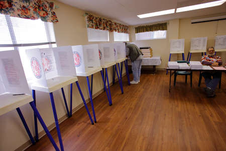 voting booth: NTURA COUNTY, CA - JUNE 7, 2016 -- Ventura Polling Station for California primary Ventura County, California.