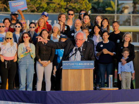 political rally: SANTA MONICA, CA - MAY 23, 2016: US Democratic presidential candidate Bernie Sanders (D - VT) speaks a Presidential rally at Santa Monica High School Football Field in Santa Monica, California.